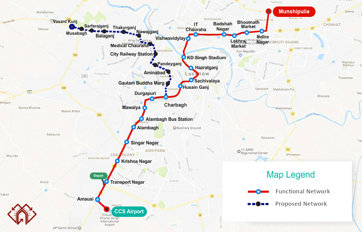 lucknow-metro-route-map